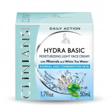 Распродажа Clinians Ежедневный увлажняющий крем для лица с минералами и растительной водой белого чая Hydra Basic