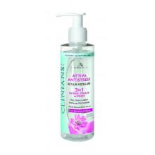 Clinians Attiva Antistress Мицеллярная вода 3в1 для снятия макияжа с лица, глаз и губ с экстрактом мальвы