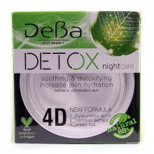 Ночной крем для нормальной и комбинированной кожи лица с 4D гиалуроновой кислотой Detox DeBa