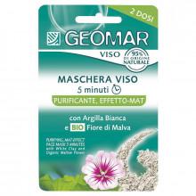 Geomar Очищающая маска для лица с матирующим эффектом с белой глиной и органическими цветами мальвы Face